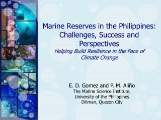 Marine Reserves in the Philippines: Challenges, Success and Perspectives
