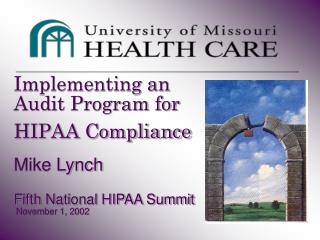 Implementing an Audit Program for HIPAA Compliance  Mike Lynch  Fifth National HIPAA Summit  November 1, 2002