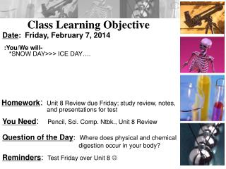 Class Learning Objective