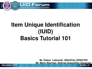 Item Unique Identification (IUID) Basics Tutorial 101