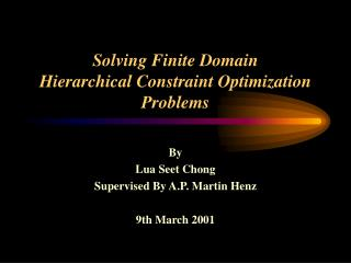 Solving Finite Domain  Hierarchical Constraint Optimization Problems