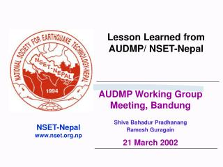 Lesson Learned from AUDMP/ NSET-Nepal