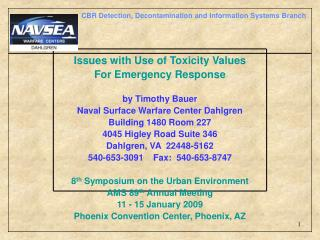 Issues with Use of Toxicity Values For Emergency Response by Timothy Bauer