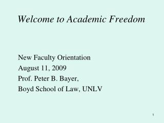 Welcome to Academic Freedom