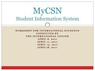MyCSN Student Information System