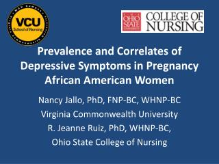 Prevalence and Correlates of Depressive Symptoms in Pregnancy African American Women
