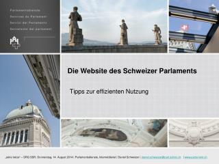 Die Website des Schweizer  Parlaments