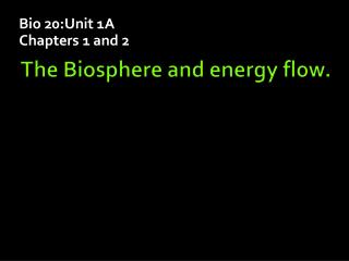 The Biosphere and energy flow.