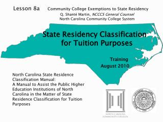 North Carolina State Residence Classification Manual: