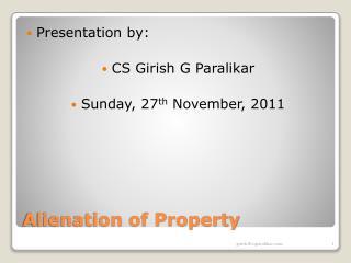 Alienation of Property