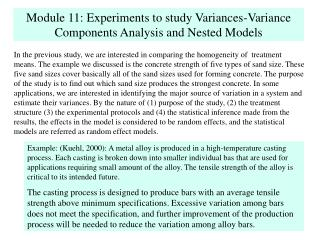 Module 11: Experiments to study Variances-Variance Components Analysis and Nested Models