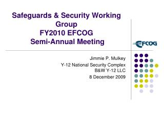 Safeguards & Security Working Group  FY2010 EFCOG  Semi-Annual Meeting