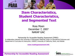 Item Characteristics, Student Characteristics, and Segmented Text