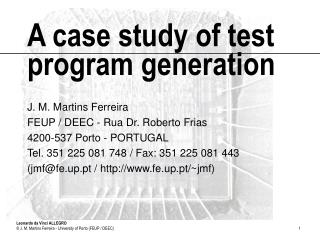 A case study of test program generation