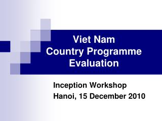 Viet Nam Country Programme Evaluation