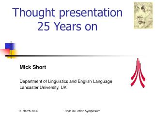 Thought presentation 25 Years on