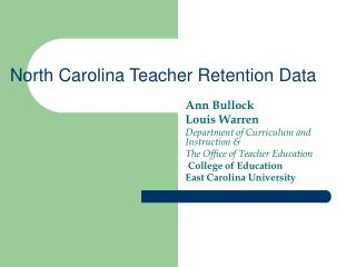 North Carolina Teacher Retention Data