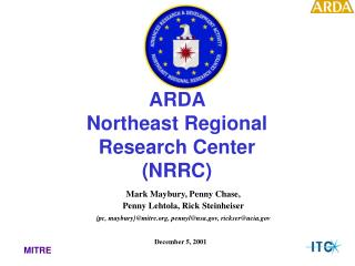 ARDA  Northeast Regional  Research Center  (NRRC)
