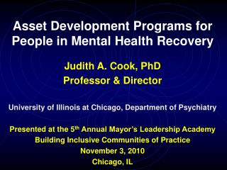 Asset Development Programs for People in Mental Health Recovery