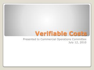 Verifiable Costs