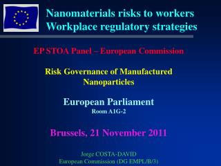 Nanomaterials risks to workers  Workplace regulatory strategies