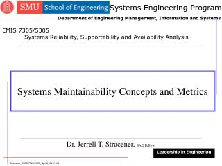 Systems Maintainability Concepts and Metrics