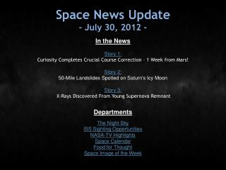 Space News Update - July 30, 2012 -