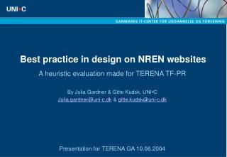 Best practice in design on NREN websites