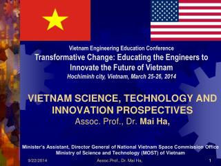 VIETNAM SCIENCE, TECHNOLOGY AND INNOVATION PROSPECTIVES Assoc. Prof., Dr.  Mai Ha,