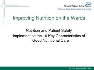 Improving Nutrition on the Wards
