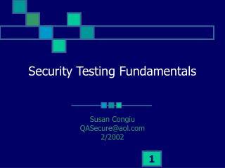 Security Testing Fundamentals