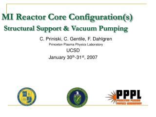 MI Reactor Core Configuration(s) Structural Support & Vacuum Pumping