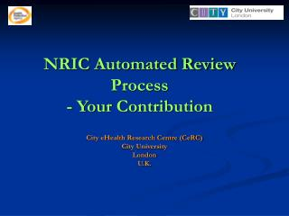 NRIC Automated Review Process - Your Contribution