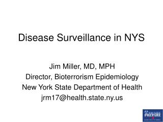 Disease Surveillance in NYS