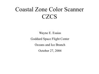 Coastal Zone Color Scanner CZCS