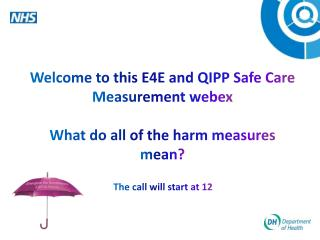 Welcome to this E4E and QIPP Safe Care Measurement  webex What do all of the harm measures mean?