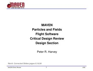 MAVEN  Particles and Fields  Flight Software  Critical Design Review Design Section