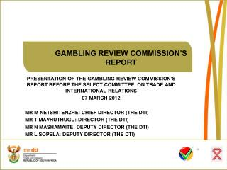 GAMBLING REVIEW COMMISSION'S  REPORT