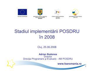 Stadiul implementării POSDRU în 2008 Cluj, 25.06.2008