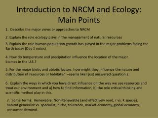 Introduction to NRCM and Ecology:  Main Points
