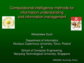 Computational intelligence methods for information understanding  and information management