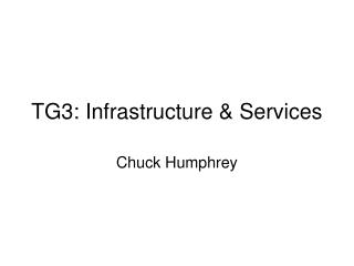 TG3: Infrastructure & Services