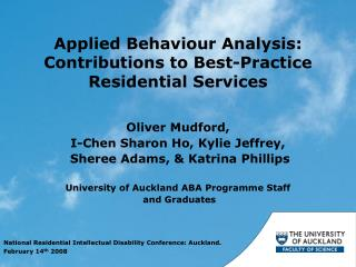 Applied Behaviour Analysis: Contributions to Best-Practice Residential Services