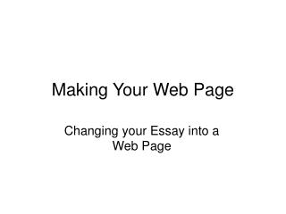 Making Your Web Page