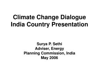 Climate Change Dialogue India Country Presentation