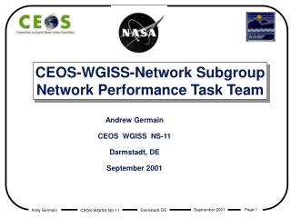 CEOS-WGISS-Network Subgroup Network Performance Task Team
