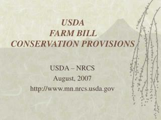USDA FARM BILL   CONSERVATION PROVISIONS