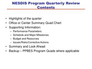 NESDIS Program Quarterly Review Contents