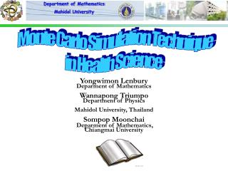 Department of Mathematics, Mahidol University