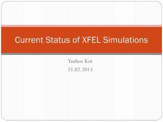 Current Status of XFEL Simulations